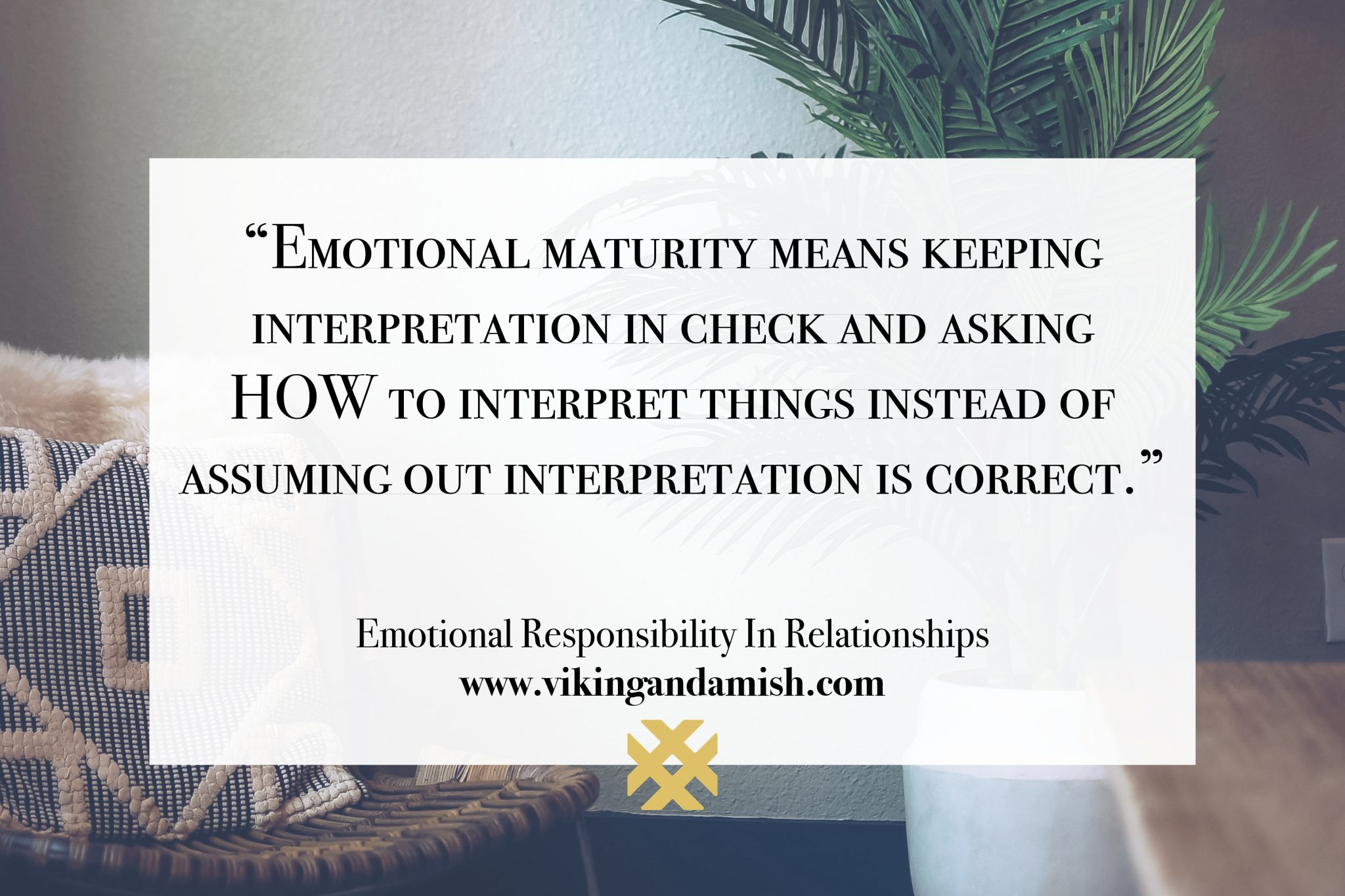Emotional maturity means keeping interpretation in check and asking HOW to interpret things instead of assuming out interpretation is correct